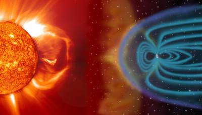 Câmpul magnetic al Pământului deviază particulele vântului solar