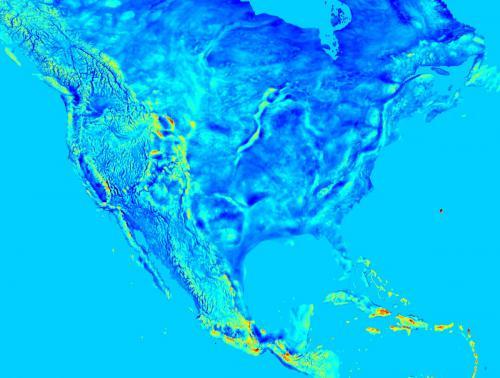 Harta câmpului gravitațional din America de Nord