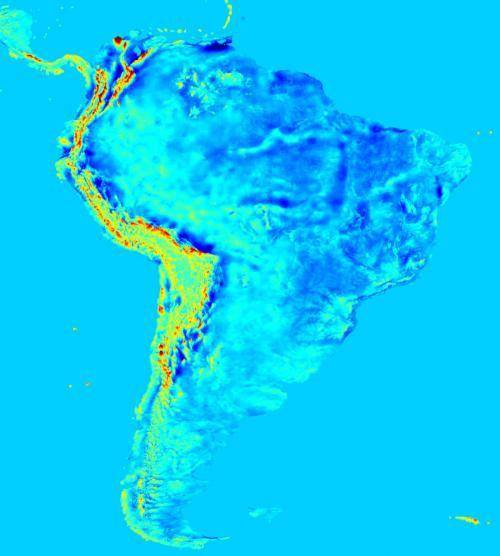 Harta câmpului gravitațional din America de Sud