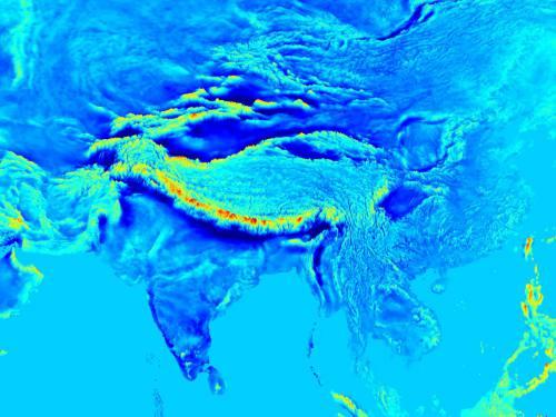 Harta câmpului gravitațional din Asia