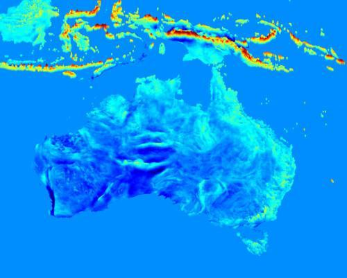 Harta câmpului gravitațional din Australia și Indonezia