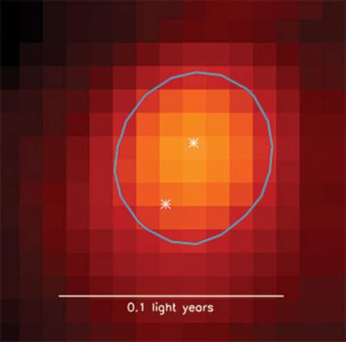 Imaginea unui sistem stelar binar obținută cu ajutorul unui radiotelescop