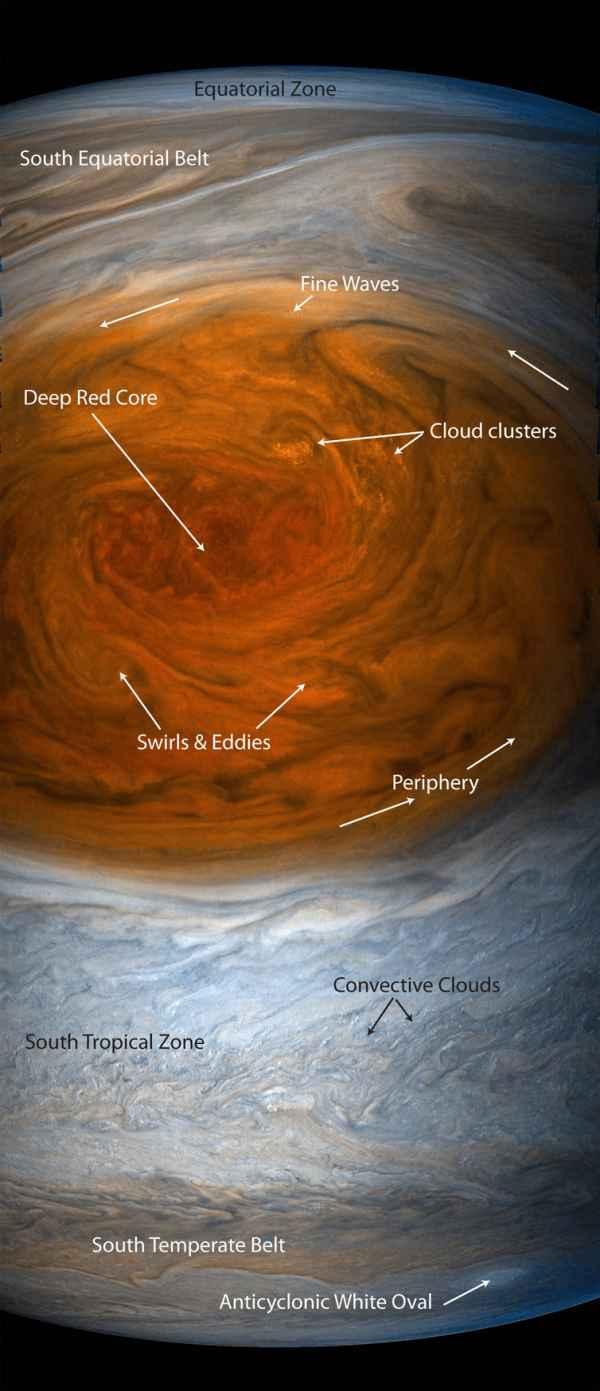 Marea Pată Roșie așa cum a fost observată de Juno