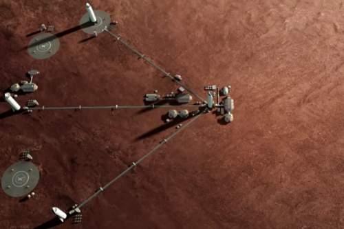 Baza marțiană formată din mai multe nave de transport interplanetar ITS