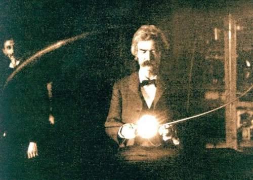 Mark Twain în laboratorul lui Nikola Tesla