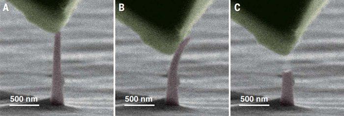 Îndoirea și ruperea nano-acelor de diamant