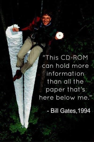 Bill Gates prezintă capacitatea de stocare a unui CD ROM