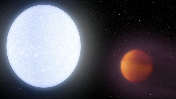 Planeta Kelt-9 b orbitând în jurul stelei sale gazdă