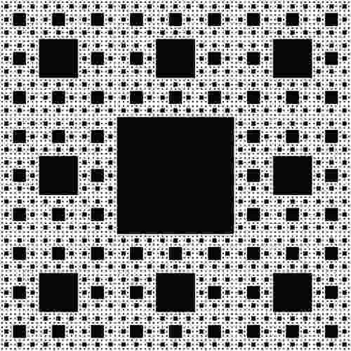 Un fractal de formă pătrat numit covorul Sierpinski