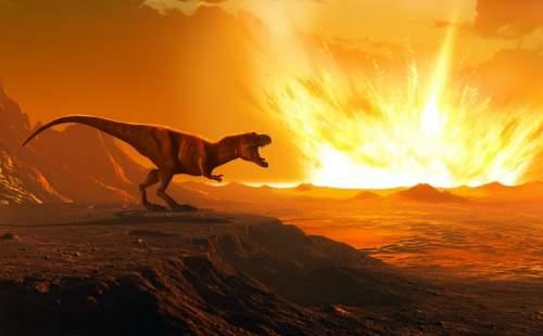 Un dinozaur urmărește un asteroid lovind Pământul.